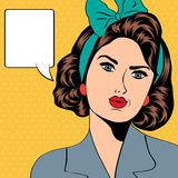 Cute retro woman in comics style Royalty Free Stock Images