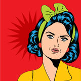 Cute retro woman in comics style Stock Image