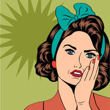 Cute retro woman in comics style Royalty Free Stock Photography