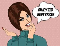 Cute retro woman in comics style with message Stock Photography