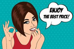 Cute retro woman in comics style with message Royalty Free Stock Image