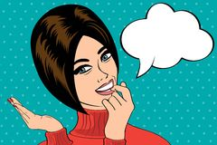 Cute retro woman in comics style with message Stock Photo