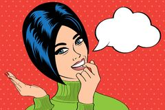 Cute retro woman in comics style with message Stock Photos