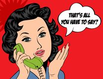 Cute retro woman in comics style with message Royalty Free Stock Photo