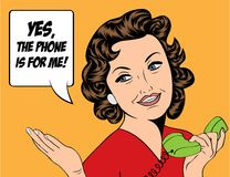 Cute retro woman in comics style with message Royalty Free Stock Images