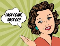 Cute retro woman in comics style with message Royalty Free Stock Photography