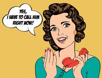 Cute retro woman in comics style with message Royalty Free Stock Photos