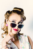 Fashion Girl In Beauty Makeup And Retro Hair Style Royalty Free Stock Image