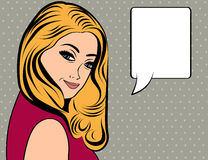 Cute retro woman with long blonde hair in comics style Stock Photography