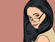 Cute retro woman with long  hair in comics style Stock Images