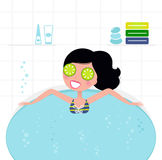 Cute retro woman relaxing in whirlpool foam bath Royalty Free Stock Photo