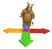 Cute Rhino cartoon character with arrow. 3d rendered illustration of Rhino cartoon character with arrow Stock Photos