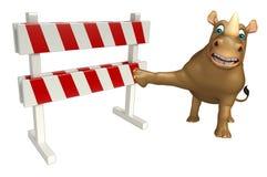 Cute Rhino cartoon character with baracade Royalty Free Stock Photos