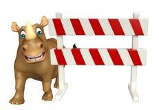 Cute Rhino cartoon character with baracade Stock Photography