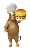 Cute Rhino cartoon character with burger  and chef hat. 3d rendered illustration of Rhino cartoon character with burger and chef hat Stock Photos