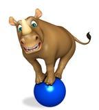 Cute Rhino cartoon character with football Stock Photo