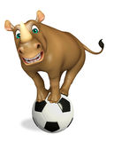 Cute Rhino cartoon character with football Stock Images
