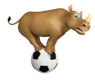 Cute Rhino cartoon character with football Royalty Free Stock Image