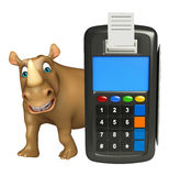 Cute Rhino cartoon character with swap machine Stock Image