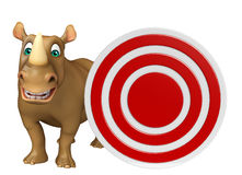Cute Rhino cartoon character with target Stock Image