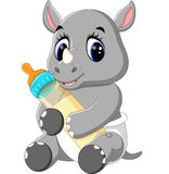 Cute rhino cartoon. Illustration of cute rhino cartoon vector illustration