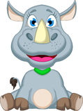 Cute rhino cartoon sitting Royalty Free Stock Photography