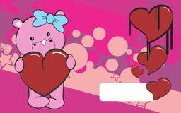 Cute rhino girl cartoon valentine backgorund Stock Image