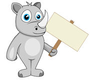 Cute rhino holding wood sign Stock Images