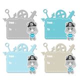 Cute rhino pirates boys  cartoon illustration for baby shower gift tag design Stock Photos