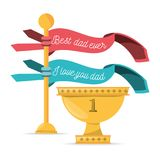 Cute ribbons with cup prize to celebrate fathers day. Vector illustration Stock Photography