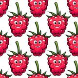 Cute ripe red raspberry seamless pattern Royalty Free Stock Photo