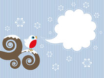 Cute robin background. Cute Christmas background with robin and blank speech bubble Royalty Free Stock Photos