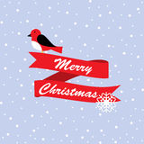 Cute robin bird with merry Christmas banner in snow Royalty Free Stock Photo
