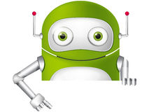Cute Robot. Cartoon Character Cute Robot Isolated on Grey Gradient Background. Look Out. Vector EPS 10 vector illustration