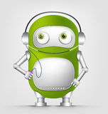 Cute Robot. Cartoon Character Cute Robot Isolated on Grey Gradient Background. Listening to Music. Vector EPS 10 stock illustration