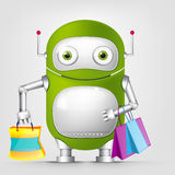 Cute Robot. Cartoon Character Cute Robot Isolated on Grey Gradient Background. Shopping. Vector EPS 10 Stock Photography