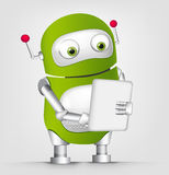 Cute Robot. Cartoon Character Cute Robot Isolated on Grey Gradient Background. Tablet User. Vector EPS 10 vector illustration