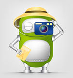 Cute Robot. Cartoon Character Cute Robot Isolated on Grey Gradient Background. Tourist Photographer. Vector EPS 10 vector illustration