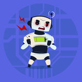 Cute Robot Angry Having Problem Modern Artificial Intelligence Technology Concept. Flat Vector Illustration Royalty Free Stock Photography