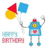Cute Robot Birthday card Royalty Free Stock Photo