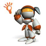 Cute robot boasts ability, pointing its head. 3D illustration. White background. Artificial intelligence. A cute robot royalty free illustration