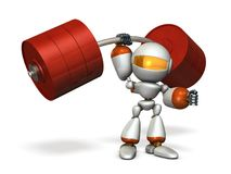 The cute robot can easily lift a heavy weight easily. Royalty Free Stock Photos
