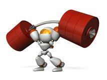 The cute robot can easily lift a heavy weight easily. Royalty Free Stock Photo