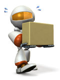 Cute robot carries a cardboard box. Royalty Free Stock Photos