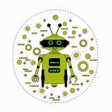 Cute Robot Cartoon Robotic Character Vintage Icon stock illustration