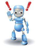 Cute robot character caution Stock Images