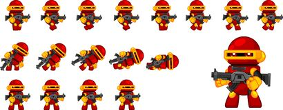 Cute Robot Character Sprites. Animated sprites for cute robot for creating adventure video games Royalty Free Stock Images