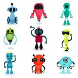 Cute robot characters of various shapes and colors set. Cartoon vector Illustrations on a white background Stock Photography