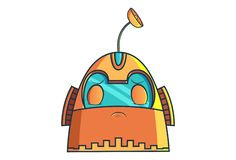 Cartoon Illustration Of Cute Robot. Cute Robot with closed eyes. Vector Illustration. Isolated on white background