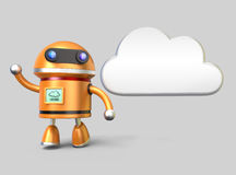 Cute robot and cloud icon. Cute robot with a cloud icon. Cloud computing concept Stock Photography